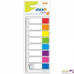 Zakładki Indeksujące 8 kolorów neon x 15szt.+Linijka STICKN 21467