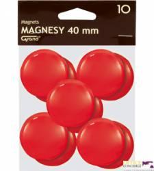 Magnesy 40mm GRAND czerwone  (10)^ 130-1701