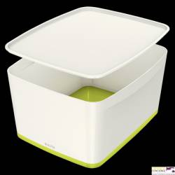 Pojemnik MyBOX duży z pokrywką biało-zielony LEITZ 52161064