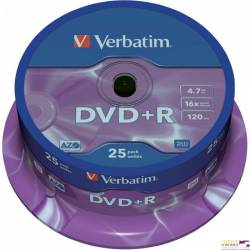 Płyta DVD+R VERBATIM CAKE(25) Matt Silver 4.7GB x16  43500