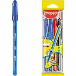 Długopis ICE 4sztuki(2nieb.,1czarny,1czerwo) 224404 MAPED