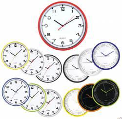 Zegar ścienny plastikowy, E01.2478.00 średnica 25,5cm MPM czarny t.biała