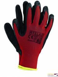 Rękawice powlekane czerwono-czarne rozmiar 7 RTELA