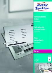 Folie samoprzylepne A4 0.13mm przezroczyste LASER 100ark 3480 AVERY ZF