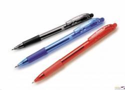 Długopis automatyczny WOW BK417/B czerwony PENTEL z gumowym uchwytem