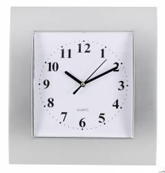 Zegar ścienny plastikowy, 255 mm x 285 mm E01.2499 MPM Srebrny z t.białą