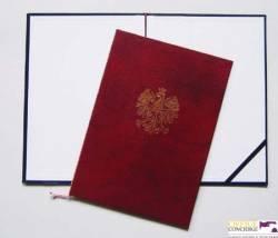 Okładka na dyplom z orłem 339-075 bordowa WARTA