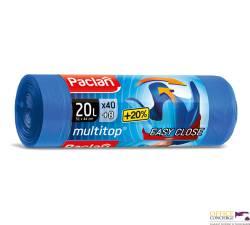 Worki na śmieci wiązane 20L (40) EASY CLOSE super mocne PACLAN