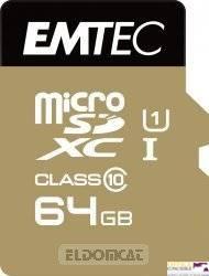Pamięć MicroSD EMTEC 64GB MicroSDXC CL10 GOLD+ECMSDM32GXC10GP