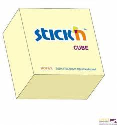"""Bloczek STICK""""N 76x76mm 400k żółty pastelowy 21072"""