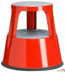 Taboret biurowy TWIN METALOWY dwustopniowy czerwony  6300-4 TWINCO