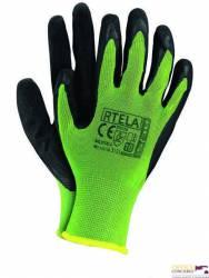 Rękawice powlekane limonkowo-czarne rozmiar 11 RTELA