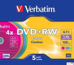 Płyta DVD+RW VERBATIM SLIM Color 4.7GB x4                43297
