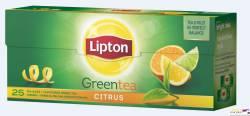 Herbata LIPTON green citrus, 25 torebek zielona
