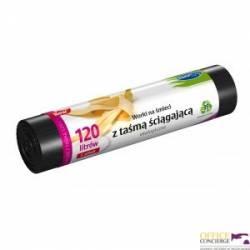 Worki na śmieci ekologiczne 120L 5szt.z_taśmą (LDPE) STELLA WNS-4263