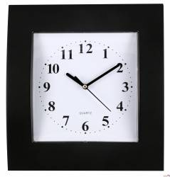 Zegar ścienny plastikowy, 255 mm x 285 mm E01.2499 MPM Czarny z t.białą