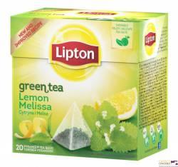 Herbata LIPTON PIRAMID GREEN LEMON MELISA (20 saszetek)