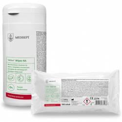 Bezalkoholowe chusteczki(100) do mycia i dezynfekcji powierzchni wrażliwych na działanie alkoholu.