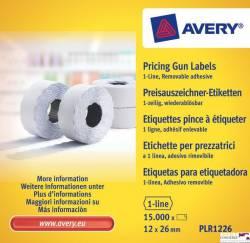 Etykieta do metk.1rz.12x26mm biała AVERY usuwalne 1500szt.rolka PLR1226