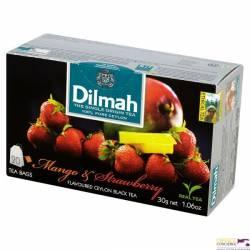 Herbata DILMAH mango z truskawką, 20 saszetek, czarna